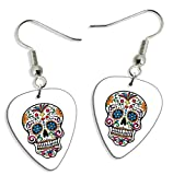 Sugar Skull Day Of The Dead 2 X Guitarra Pick Earrings Pendientes (GD)