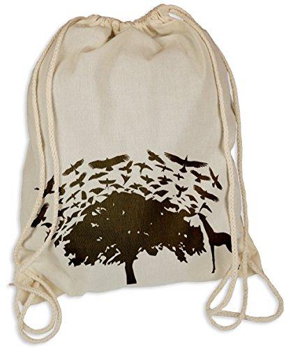Kultige Hipster (Birds Tree - Gymsac Turnbeutel - Stoffbeutel Tasche Hipster Sportbeutel Rucksack Vögel Vogel Giraffe Afrika)