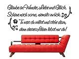 Wandtattoo Glaube an Wunder Liebe und Glück M411 Zitat Sprüche dunkelrot 120cm x 49cm