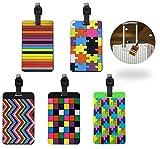 FunRun PVC Etichette per Bagagli con Targhetta da Valigia Cartellini ID Tag Luggage Portabiglietti da Visita, 5 Pezzi