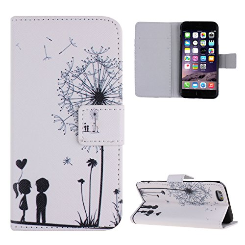 """Case for iPhone 6,Cover for iPhone 6,Leather Case for iPhone 6,Flip Case for iPhone 6 4.7"""",IFEDA Painted Soft PU Leather Protective Carrying Case with Stand Function and Credit Card Slot Holder Pouch  löwenzahn"""