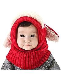 AUVSTAR Neonata per bebè Bambino Inverno Sciarpa Set Cutest Earflap  Cappuccio Warm Knit Hat Sciarpe con b0bc625d2faa