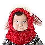 AUVSTAR Neonata per bebè Bambino Inverno Sciarpa Set Cutest Earflap Cappuccio Warm Knit Hat Sciarpe con orecchie Snow Neck Warmer Skull Cap Regalo di Natale per bambini 6-36 Mesi (rosso)