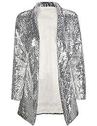 DGFHR Chaqueta De Mujer Otoño Las Mujeres De Plata con Lentejuelas Coats Turn-Down Collar