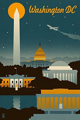 Washington, DC-Retro Skyline Retro 12 x 18 Art Print multi -