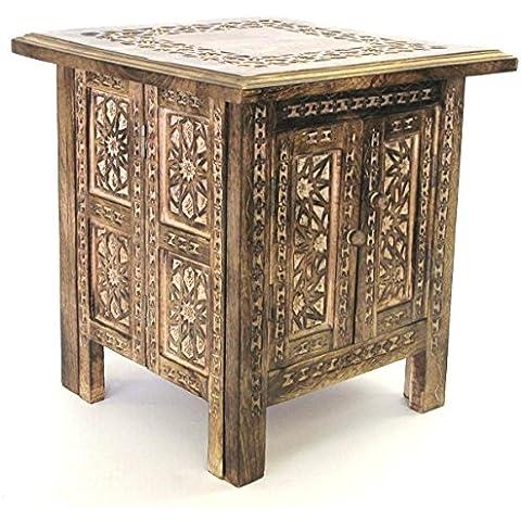 Yembe hecho a mano 38,1 cm mesa cuadrado estilo marroquí compartimento de almacenaje interior y cuchillo para trinchar carne