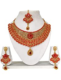 Vipin Store Golden & Red Color Stone/Kundan With Pink Pearl Gold Plated Jewelery Set
