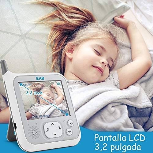 GHB Vigilabebés Inalámbrico con Cámara Visión Nocturna Monitor para Bebé Pantalla LCD de 3, 2 pulgadas,  Modo VOX,  Sensor Temperatura,  Nanas Incorporadas