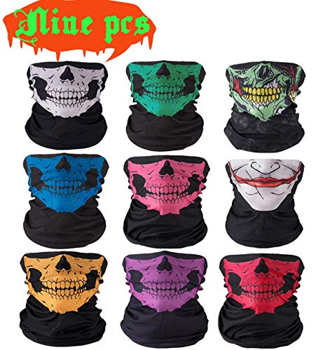 AFUT 9 Stück Multifunktionstuch Gesichtsmaske Sturmmaske Bandana Schlauchtuch Halstuch mit Totenkopf- Skelettmasken für Motorrad Ski Paintball Gamer Karneval Kostüm Skull Maske