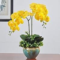 Flores artificiales Orchid vasos cerámicos macetas Amarillo pequeño Home decoraciones para Bodas Cumpleaños Bouquet Bunch Hotel