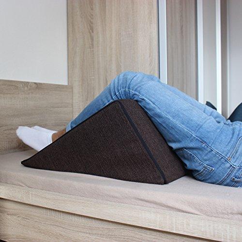 Keilkissen, Rückenstütze für Bett, Couch, Fernsehen und Tablet Relaxkissen, Lesekissen, Größe 60cm x 50cm Höhe 30cm braun -
