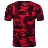 T-Shirts,Honestyi Herren Beiläufig Tarnung Drucken O-Neck T-Shirt Top Bluse aus hochwertigem Single Jersey Stoff Kurzarmshirt Print Shirt Basic Crew Neck Tall & Slim Kurzarmshirt (L, Rot)