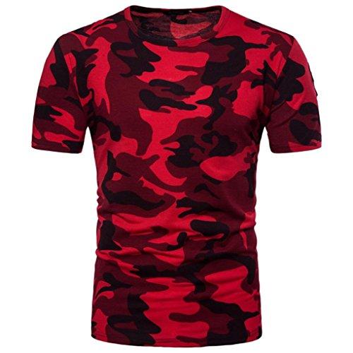 T-Shirts,Honestyi Herren Beiläufig Tarnung Drucken O-Neck T-Shirt Top Bluse Aus Hochwertigem Single Jersey Stoff Kurzarmshirt Print Shirt Basic Crew Neck Tall & Slim Kurzarmshirt (M, Rot) (Print T-shirt Jersey)