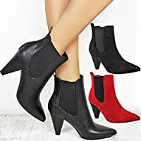Womens Ladies Ankle Boots Block High Cuban Heel Stretchy Western Wide Shoes Size