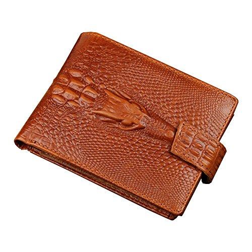Klassisches Echtes Leder Krokodil Alligator Muster Bifold Kurze Geldbörse Karten Hüllen mit Knopf Snap Verschluss (Wallet Alligator-bi-fold)