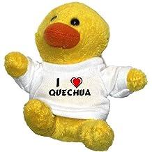 Pollo de peluche (llavero) con Amo Quechua en la camiseta (nombre de pila/apellido/apodo)