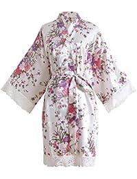 YAOMEI Novia Mujer Vestido Kimono Satén, Camisón para Mujer, Sedoso Flores de Cerezo de
