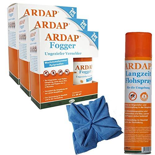 ARDAP Set 1 x 400 ml Flohspray + 6 x 100 ml Fogger gegen Flöhe + Microfasertuch