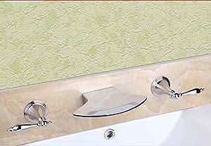 Rozinsanitary Brausemischbatterie, Modernes Design, Chrom Poliert, 3 Bad Badewanne Wasserhahn Creative Dual Griffe 3 Loch Armatur