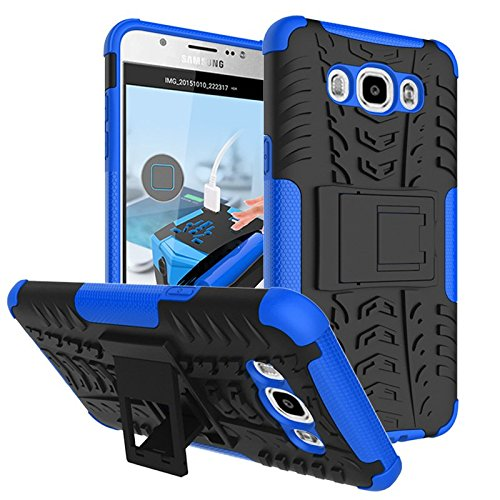 Chevron Hybrid Military Grade Armor Kick Stand Back Cover Case for Samsung Galaxy J7 - 6 (New 2016 Edition) (Blue)