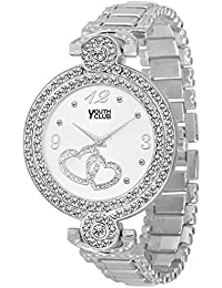 Youth Club CH-LVEWHT New Silver Studded Party Wear Watch For Girls