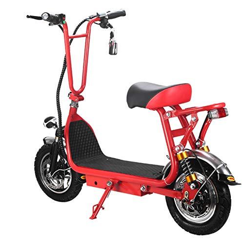 HOPELJ Elektroroller mit Folding Pole, High Speed Elektroroller mit Einbruchalarm für Off Road Fahren und Leistungsstarker 350W Motor Mini-Roller für Erwachsene,Red,45km