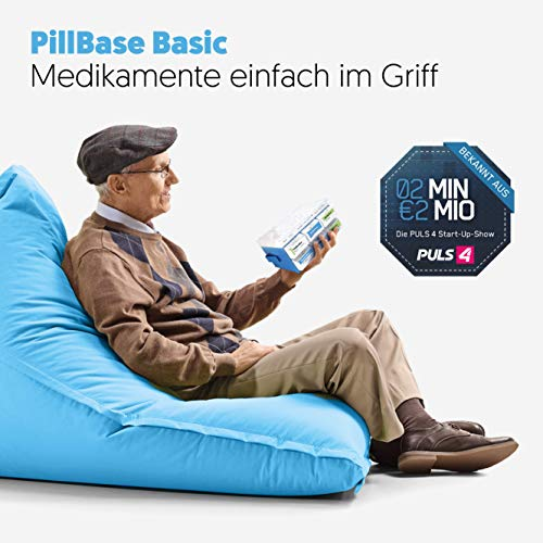 514xI0n74iL - PillBase Basic - Caja para medicamentos (dosificador para 7 días, distribución semanal, apilable, 2 millones de min)
