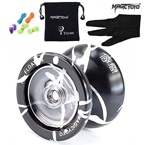 Origine MAGICYOYO N9 Floating Cloud Yo-yo Ball, professionnels aluminium en alliage de Yoyo Balls avec Gants + 5 Cordes, cadeaux jouet pour enfants Garçon Fille ( Noir et argent )