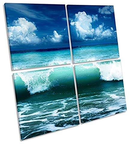 Blue Ocean Wave-Beach Multi-Leinwand Wand Kunst Eckig Bild, gerahmter Kunstdruck, blau, 100cm wide x 100cm high