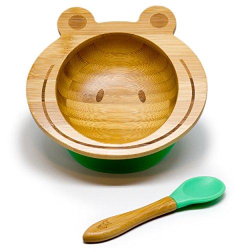 Baby Schüssel aus Bambus mit rutschfestem Saugnapf und passendem Babylöffel, verschiedene Tiermotive, perfekt als Geschenkset (Frosch) - Baby Geschirr
