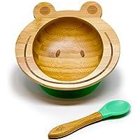 Hochwertige Baby Schüssel aus Bambus mit rutschfestem Saugnapf und passendem Babylöffel, erhältlich in verschiedenen Tiermotiven