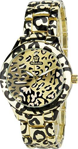 Damen armbanduhr - valentinstag geschenk - BELLOSLeopard Gold  Quarz Stahl Analog Display Typ stilvoll Sport Modus Armband Leopard Gold Stahl (Stilvolle Leopard)
