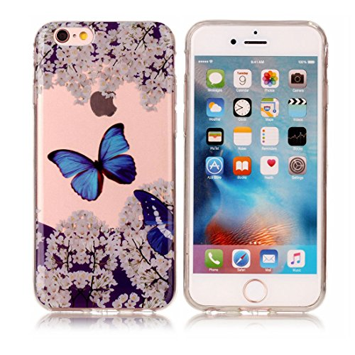 iPhone 6s Plus Custodia, [Materiale flessibile TPU Gel trasparente del silicone Grip sottile e leggero ] Copertura iPhone 6 Plus /6S Plus Case 5.5, Shock Proof [ Cartoon farfalla Fiore Nero ] # # 8
