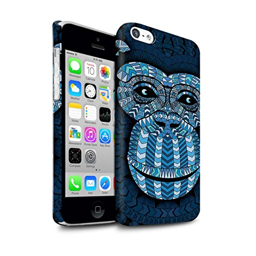 STUFF4 Matte Snap-On Hülle / Case für Apple iPhone 7 Plus / Elefant-Farbe Muster / Aztec Tier Muster Kollektion Affe-Blau