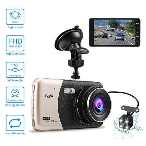 Auto Kamera 4.0 Dash Camera Auto Tvird FHD 1080p Dashcam Recorder mit 170° Weitwinkel-6G Objektiv Parkmonitor/Bewegungserkennung/Loop-Aufnahme/G-Sensor (Dashcam) Ultradünne Nachtsichtdisplay