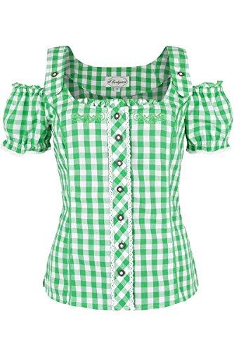 Damen Spieth & Wensky Carmenbluse kariert grün-weiß, grün, Grün