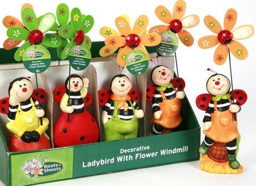 Jumbo ladybird with flower Windrad Zufällige Farbe WINDSPIEL MIT WINKEL (Jumbo-winkel)