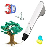 3D pluma, pluma THZY impresión 3D para modelado 3D, educación, bono 2 libre 1,75 mm PCL filamento, 3D dibujante dibujo impresión Impresora Pluma para niños adultos artes manualidades DIY (blanco)