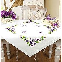 Kamaca - Kit de Punto de Cruz para Mantel (diseño de Mariposas y Flores,