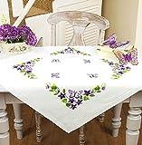Kamaca Stickpackung Tischdecke Schmetterlinge + Blumen Stielstich Plattstich Nadelmalerei vorgezeichnet aus Baumwolle Stickset mit Stickvorlage (Mitteldecke 80x80 cm)