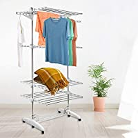 POPSPARK 3 Tier Foldable Clothes Rack Airer Laundry Drying Stand Rack Indoor Outdoor Adjustable Dryer with Wheels 144x70x88cm