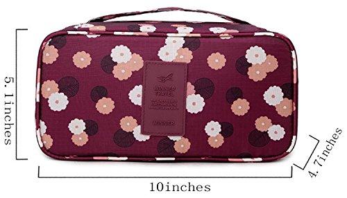 iSuperb® Reise BH Tasche Organizer Wasserdicht Reisetasche Unterwäsche Aufbewahrung Höschen Socken Tasche(Wine with Floral Pattern)