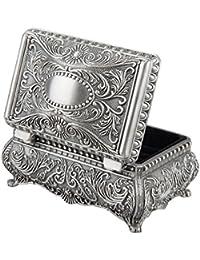 feyarl antiguo metálico floral grabado rectangular Joyero joyas caja con divisores interior