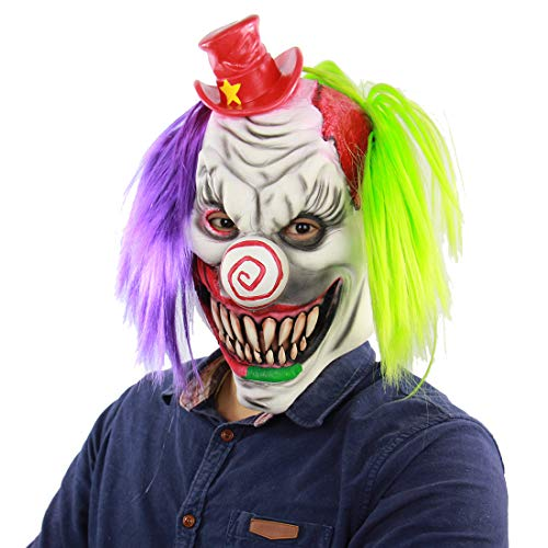(Halloween-Maske, Beängstigend Red Hat Clown-Maske Für Männer, Prank Maske Halloween Beängstigende Maske, Sichere Latex-Terror-Monster-Maske Für Halloween-Kostüm Party Und Maskerade)