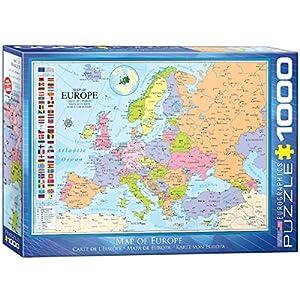 Eurographics Puzle (1000 Piezas) 6000-0789, diseño de Mapa de Europa