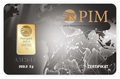 Goldbarren 5 g 5 Gramm Scheckkartenformat Feingold 999.9 geblistert Nadir Gold LBMA-zertifiziert