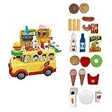 FJY Kinderküche Spielküche Kinderspielküche Spielzeugküche Haben Küche, Supermarkt, Orbit, Eiswagen Gourmet Deluxe Spielzeug,Yellow,Burger