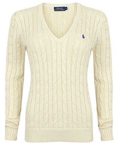 Polo Ralph Lauren Pullover a maglia, scollo a V, cotone, Kimberly Grau (Fawn Grey) Medium