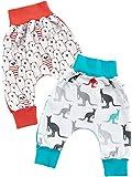 Baby Mädchen Stoff Baggy Pump Mitwachs Hose 2er Set Bär Rot und Känguru Blau 22775, Größe:80