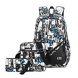 JIAOO Klassische Graffiti Rucksäcke Jungen Schulrucksäcke Canvas Teenager 3-teiliges Set Schultasche,Ultraleicht Jugendliche Cityrucksack, Schoolbag,verschleißfest Schulranzen Und Rucksack,junior sch